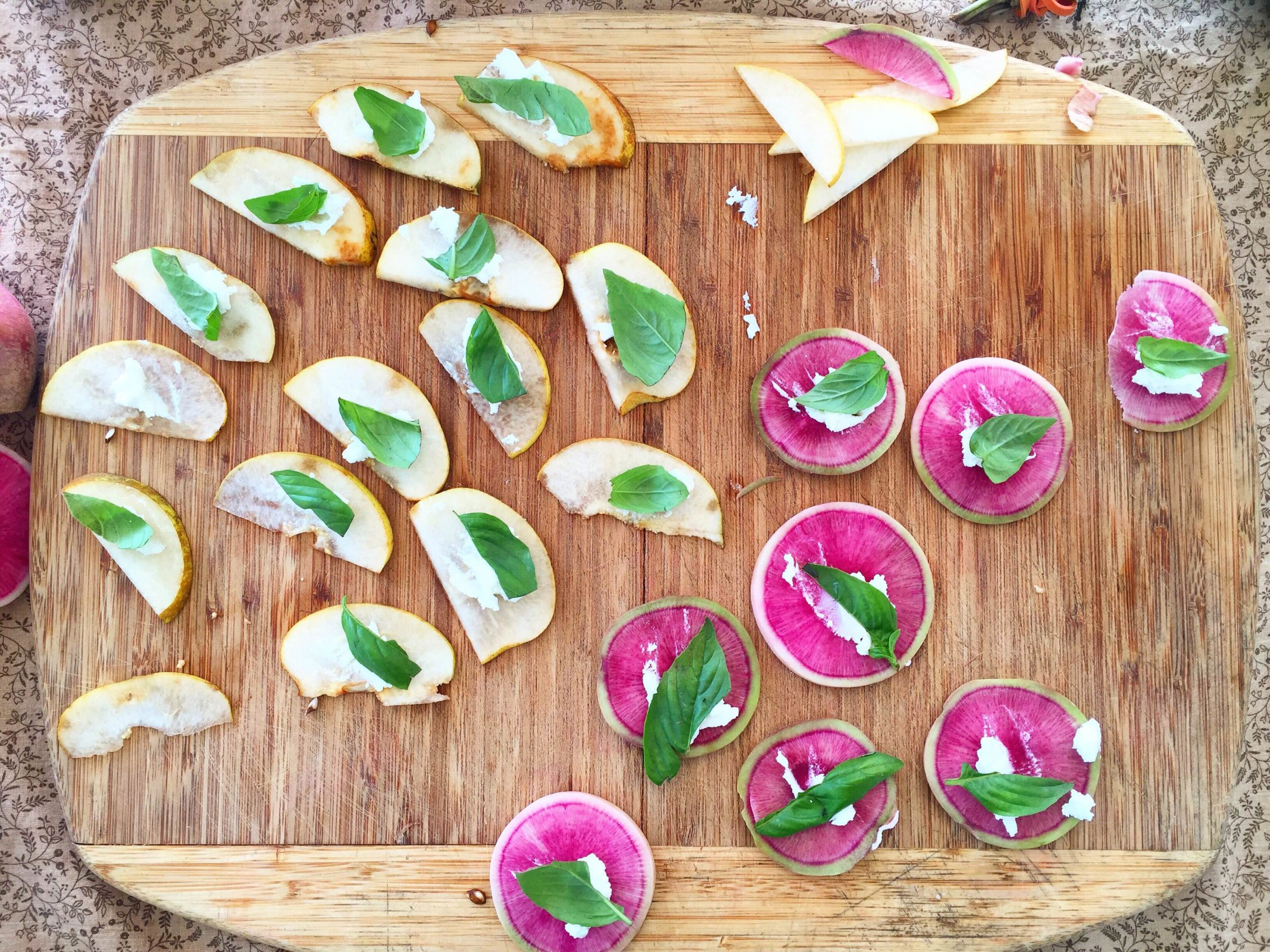 Radish and Pear with Chevre and Basil
